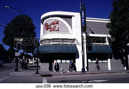 Stock Photograph of Deli on Rodeo Drive Beverley Hills Los Angeles.