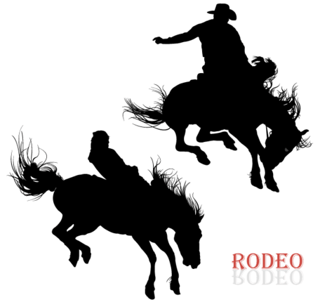 Free Cowboy Riding Horse in Rodeo Vector Arts Clipart and.