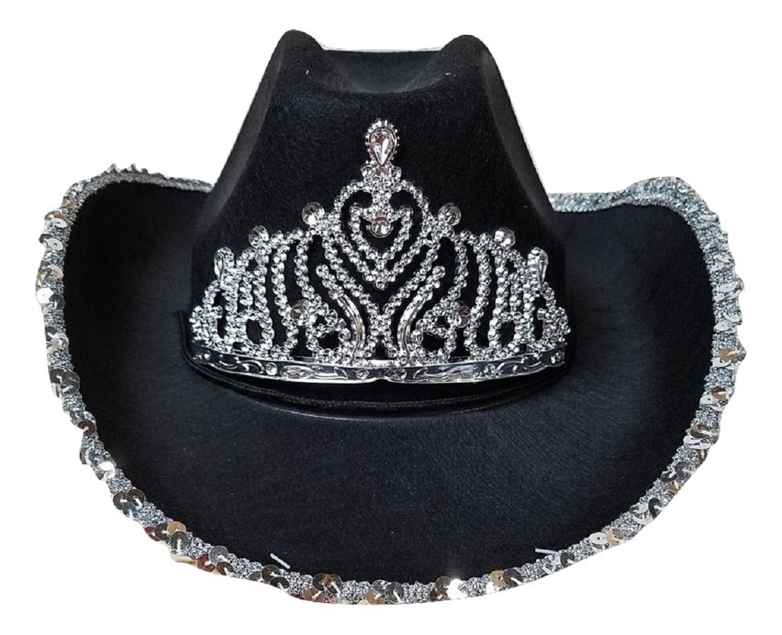 Details about Cowgirl Rodeo Queen Cowboy Hat Silver Sequin Tiara Adult  Costume Accessory.