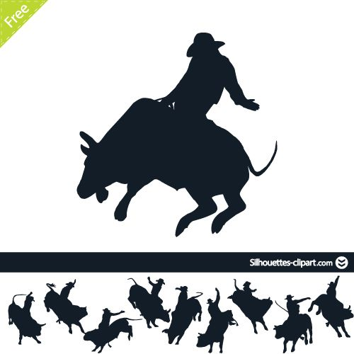 Rodeo on bulls vector.