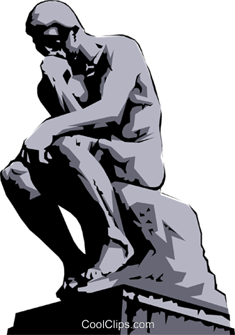 Rodin's Thinker Royalty Free Vector Clip Art illustration.