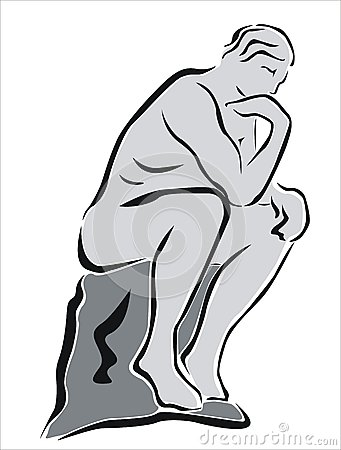 Thinking man statue clipart.