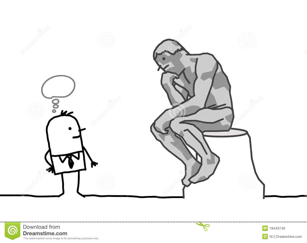 Rodin's Thinker Parody Stock Photo.