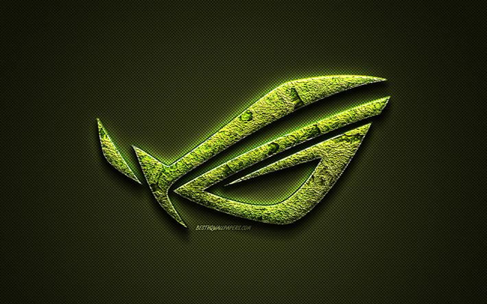 Download wallpapers ROG logo, green creative logo, Republic.