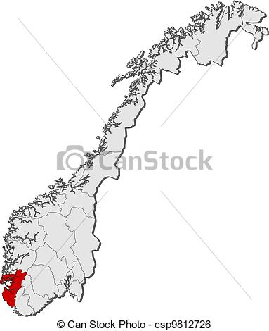 Clip Art Vector of Map of Norway, Rogaland highlighted.