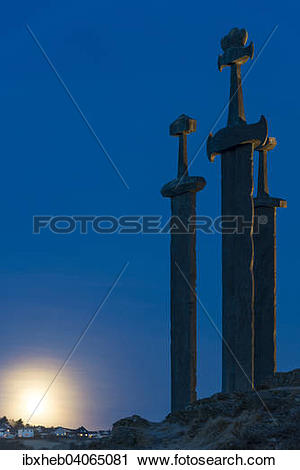 "Stock Photography of ""Three Swords monument at Hafrsfjord."