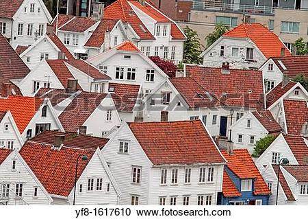 Stock Photography of Wooden houses in Gamle Stavanger, Rogaland.