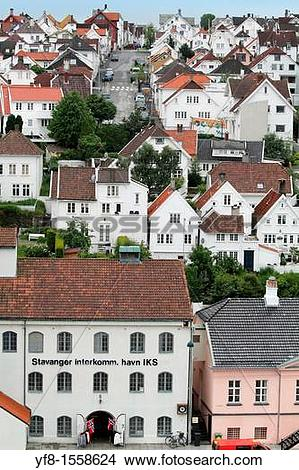 Stock Photo of Wooden houses in Gamle Stavanger, Rogaland County.