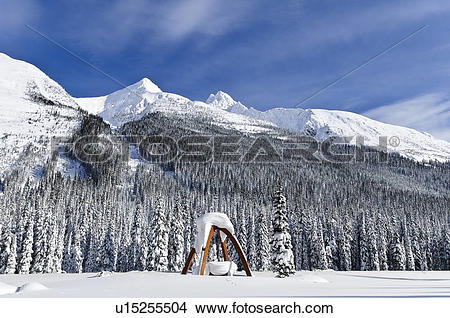 Stock Photo of Winter, Rogers Pass summit, Glacier National Park.