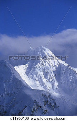 Stock Images of Avalanche Mountain and clouds Rogers Pass, Glacier.