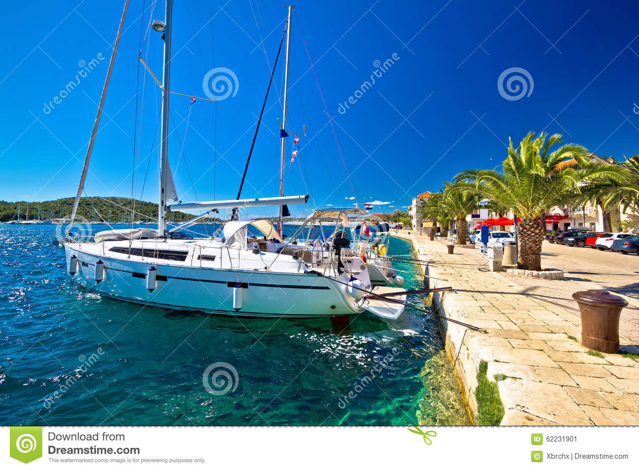 Amazing Rogoznica Sailing Destination Waterfront Stock Photo.
