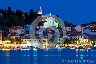 Rogoznica By Night Stock Photo.