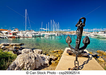 Stock Photography of Adriatic town of Rogoznica sailing harbor.