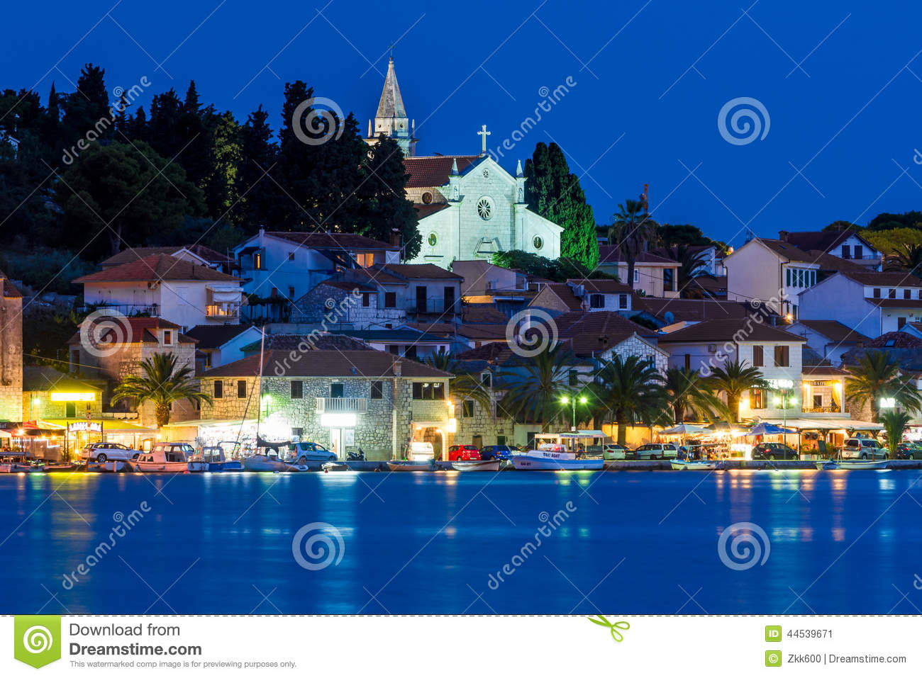Rogoznica At Night Stock Image.