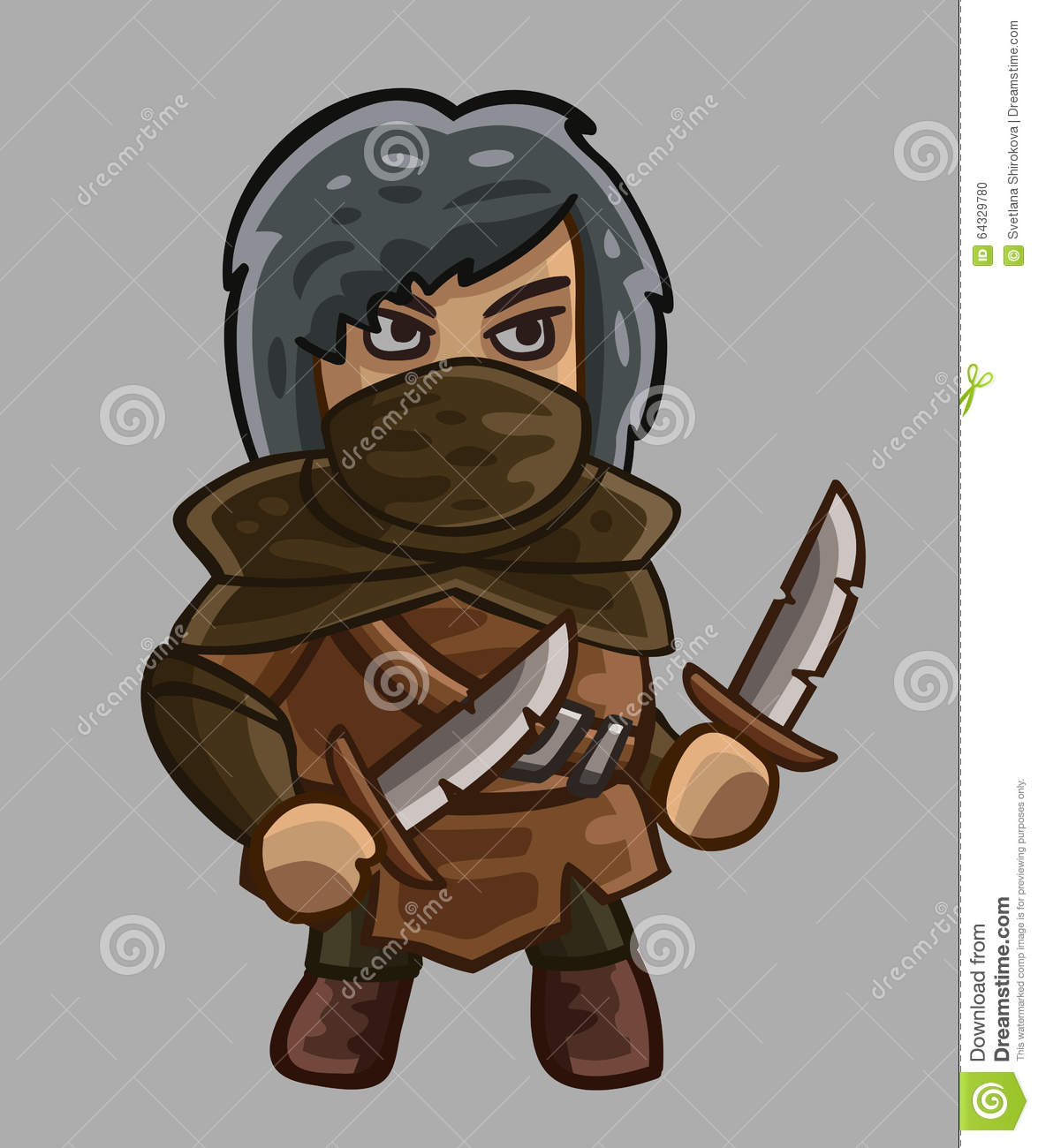 Medieval Game Character Rogue Stock Vector.