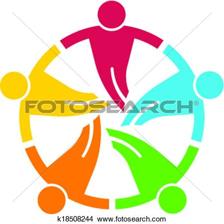 Clipart of Teamwork round. Group of 5 people V k18508244.