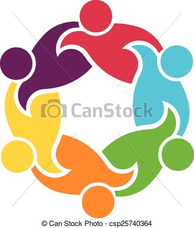 Clip Art Vector of Teamwork circle of 6 people group.