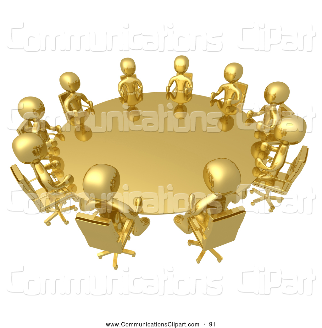 Communication Clipart of a Group of Golden Business People Seated.