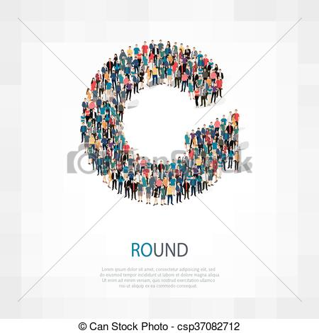 Vector Clip Art of round people sign 3d.