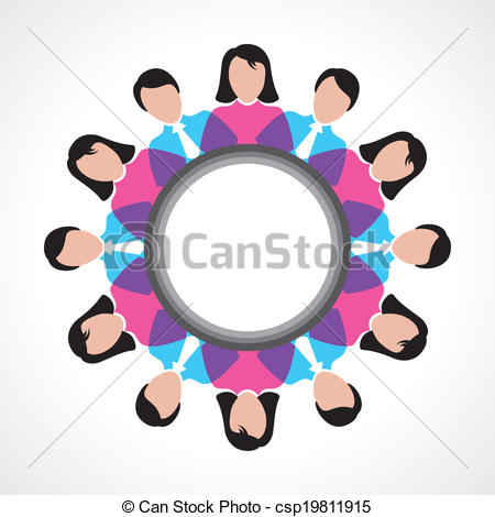Vector Clip Art of round people global discussion concept vector.