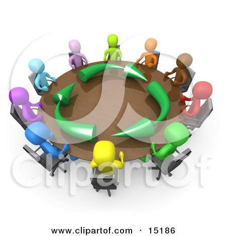 Group Of Gold People Seated And Holding A Meeting At A Round.