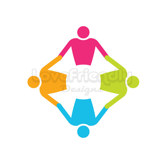 People group round in circle logo clip art. Concept for a nursery.