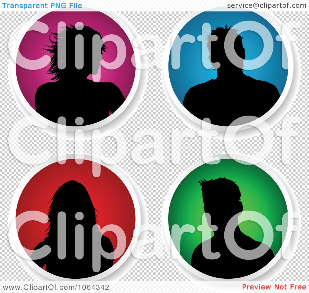 Clipart Round People Avatars Digital Collage.