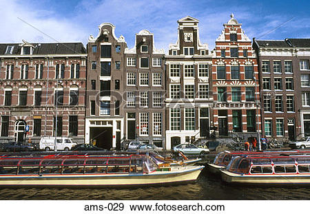 Stock Photograph of 18th Century Town Houses Rokin Amsterdam.