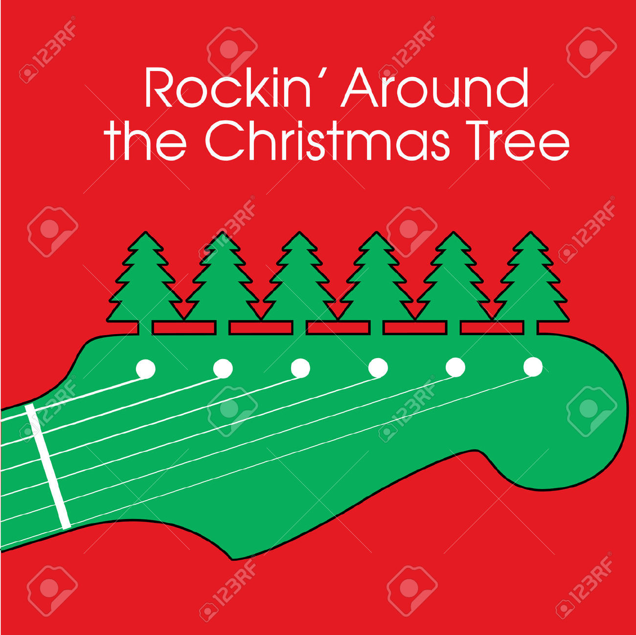 Music playing around the christmas tree clipart.