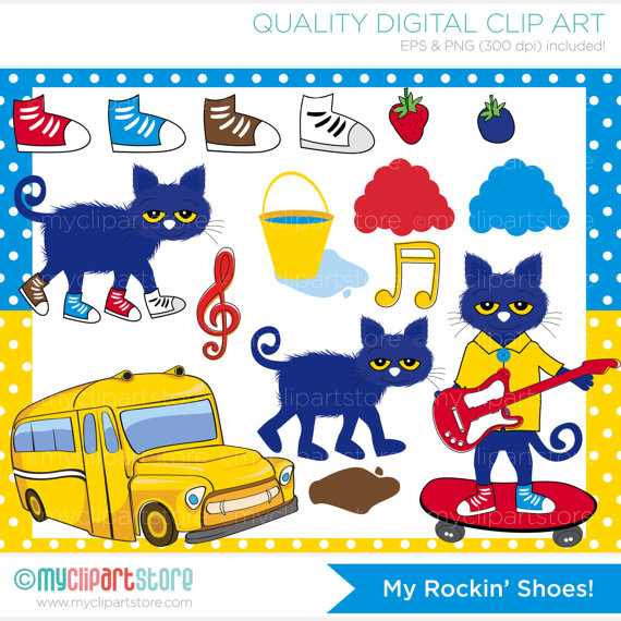 My Rockin Shoes / Pete Cat Clip Art / Digital by MyClipArtStore.