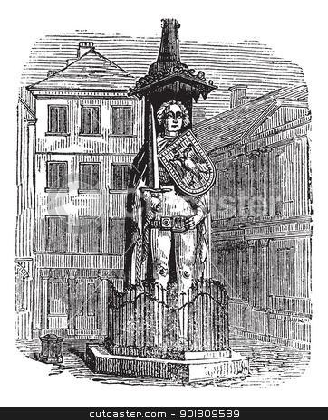 Bremen Roland, statue, Bremen, Germany, vintage engraving. stock.