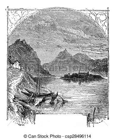 Stock de fotografía de Montaña, nonnenwerth, isla, rolandseck.