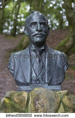 "Stock Photo of ""Bust of Max Henius in Rebild Bakker Nature Reserve."