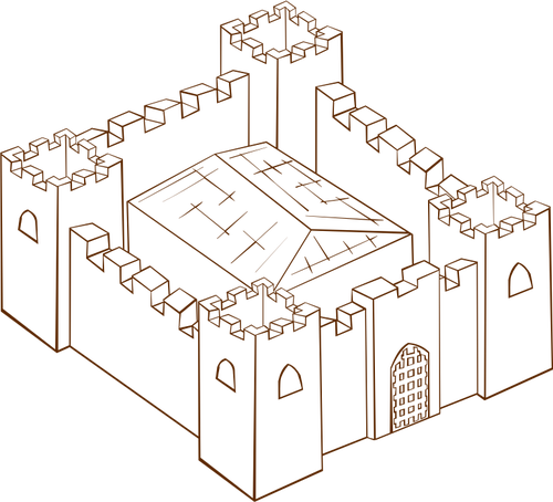 Vector clip art of role play game map icon for a fortress.