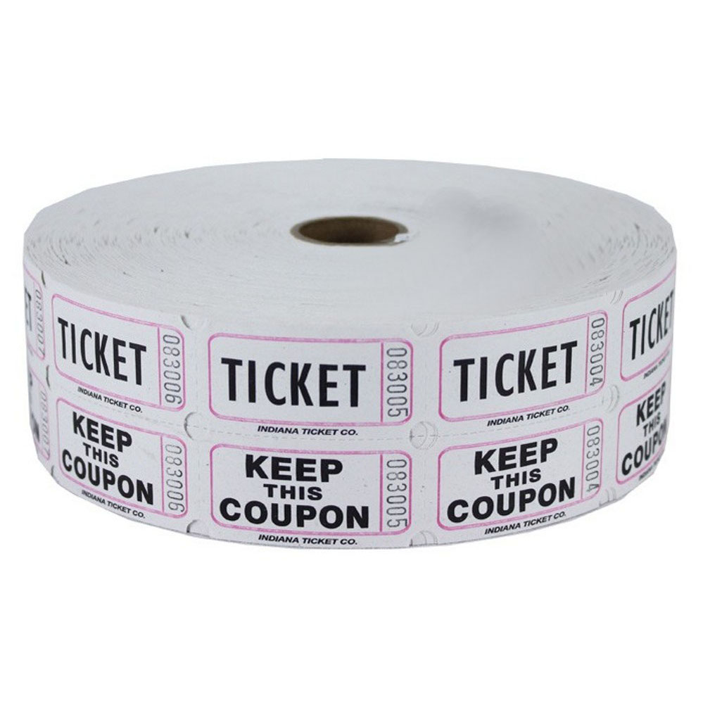 White Double Raffle Ticket Roll.