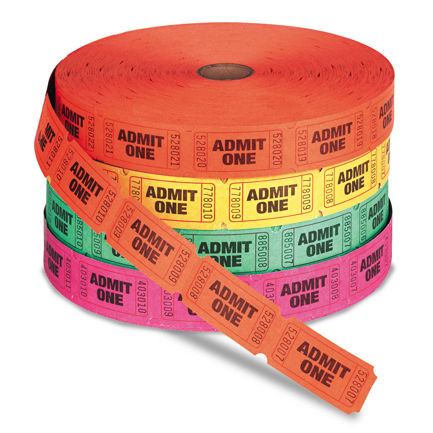 PM COMPANY Admit One Single Ticket Roll, Numbered, Assorted.