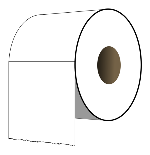 ClipArt Of A Toilet Paper In Black And White.