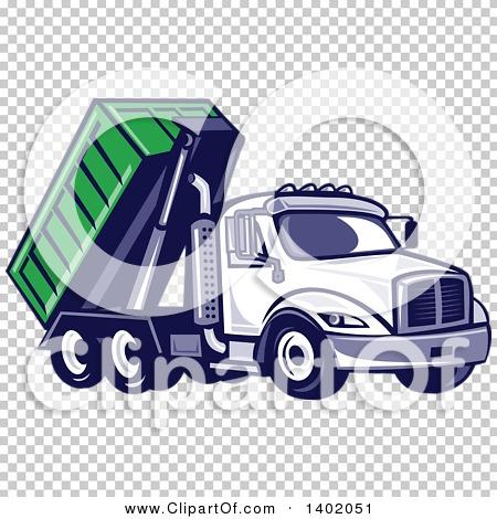 Clipart of a Retro Roll off Bin Dump Truck.