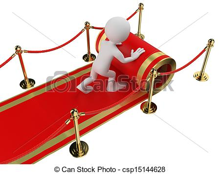 Clip Art of 3D white people. Worker rolling out the red carpet.