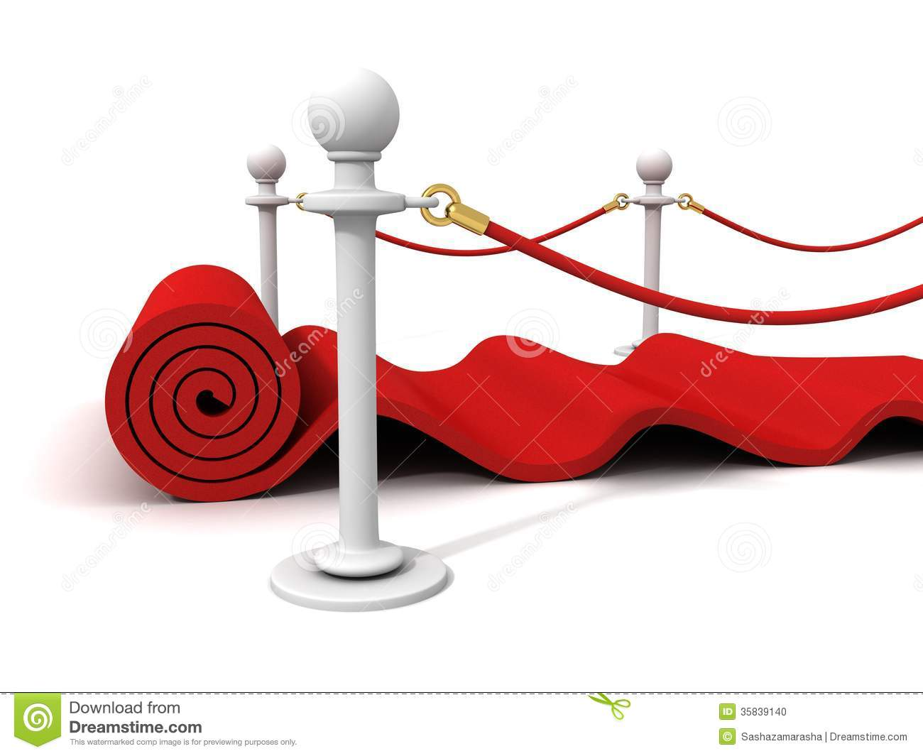 Red Rolling Velvet Carpet With Rubber Stanchions Stock Photo.