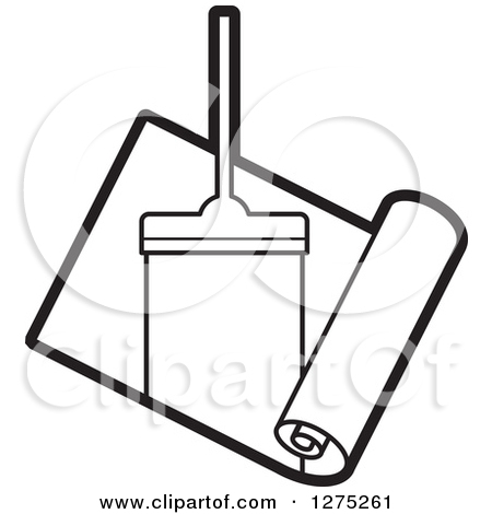Clipart of a Black and White Carpet Cleaner Leaving a Streak in a.