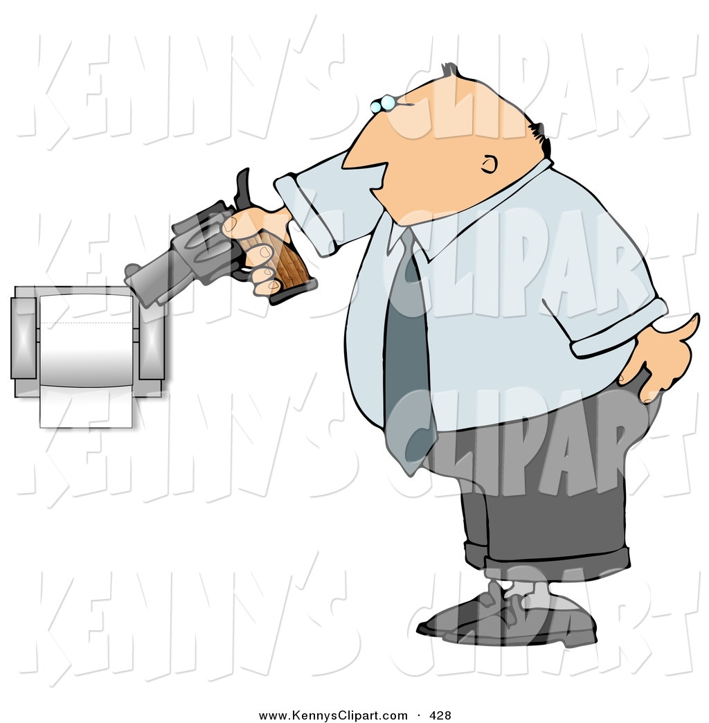 Clip Art of a Mad White Man Pointing a Gun at Toilet Paper Roll.