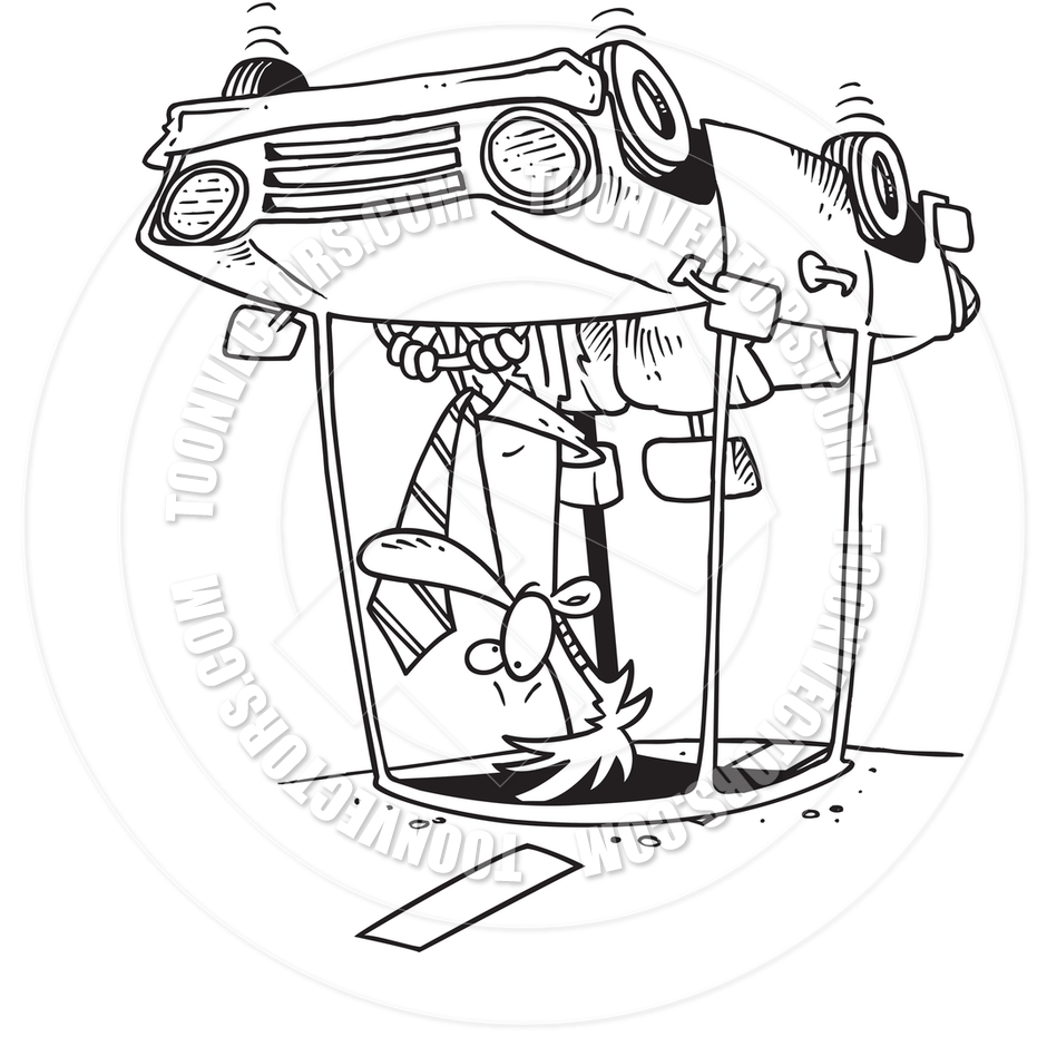 Cartoon Car Rollover (Black and White Line Art) by Ron Leishman.
