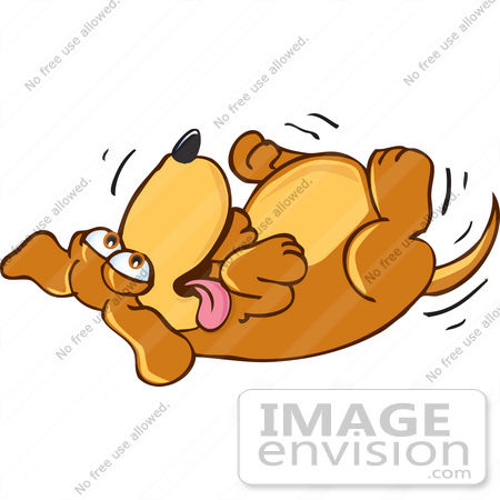 Dog rolling over clipart.