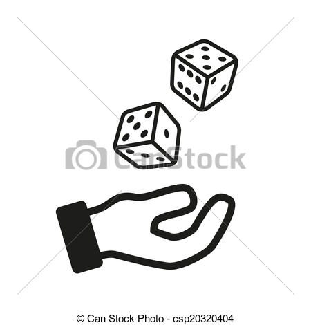 Vector Clipart of Male hand rolling dice isolated on white.