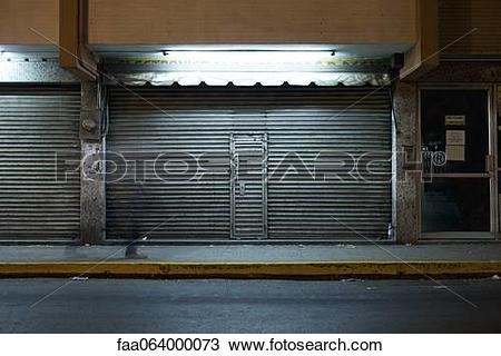 Stock Photo of Store front with locked roll.
