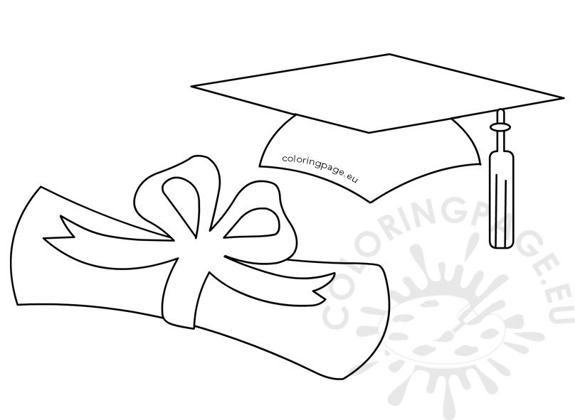 Graduation hat and rolled diploma.