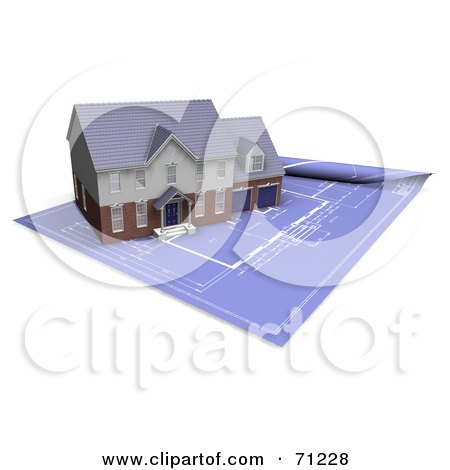 Clipart Illustration of an Architect's Blueprints Partially Rolled.