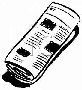 Newspaper rolled up clipart.