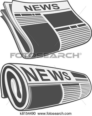 Clipart of Rolled newspaper vector k7783334.